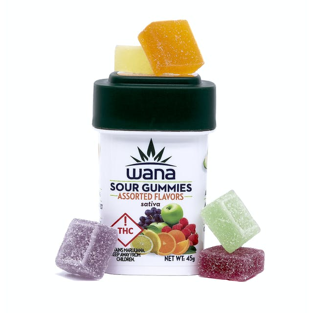 Wana Edibles Wana Sour Gummies: Assorted Flavors Sativa (Med