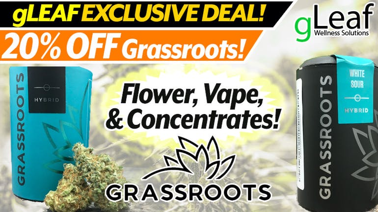 gLeaf Wellness Solutions 20% of Grassroots Products
