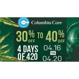 Columbia Care California 30% off concentrates & flower