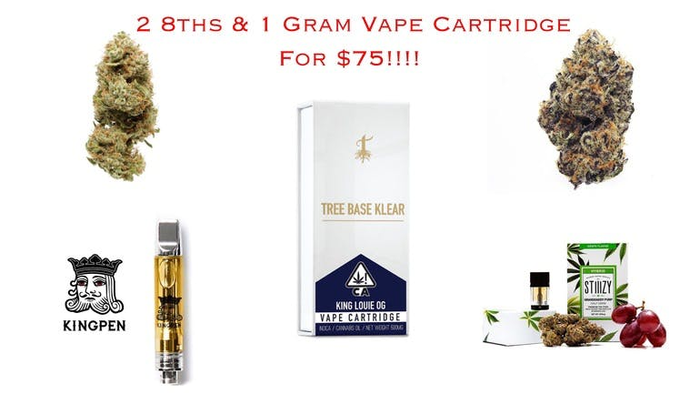 Cali Kush Collective 2 Eighths & 1 Gram Vape Cart $75