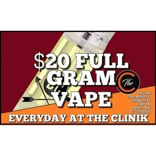 The Clinik $20 Full Gram Vape Carts!