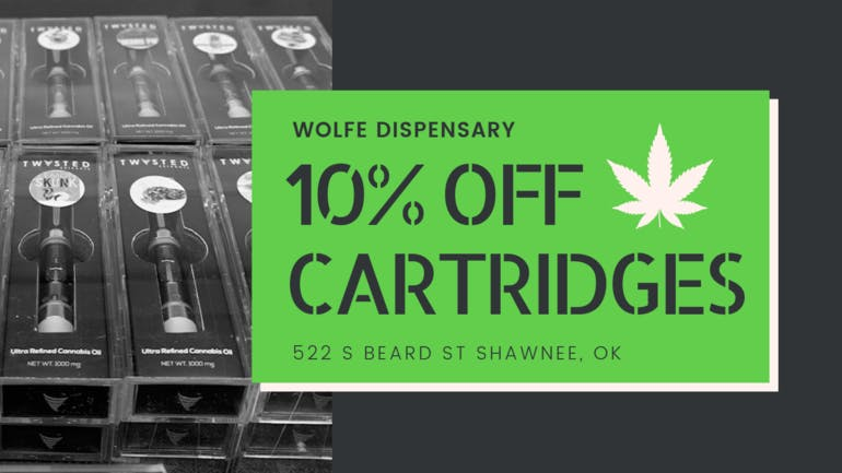 Wolfe Dispensary 10% OFF ALL CARTRIDGES