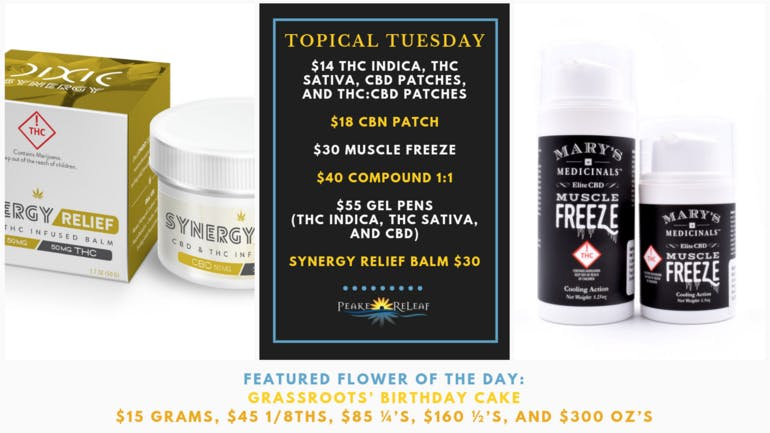 Peake ReLeaf Topical Tuesday Deals!