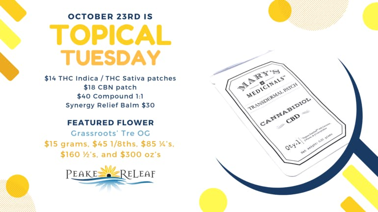 Peake ReLeaf Topical Tuesday Deals for 10/23!