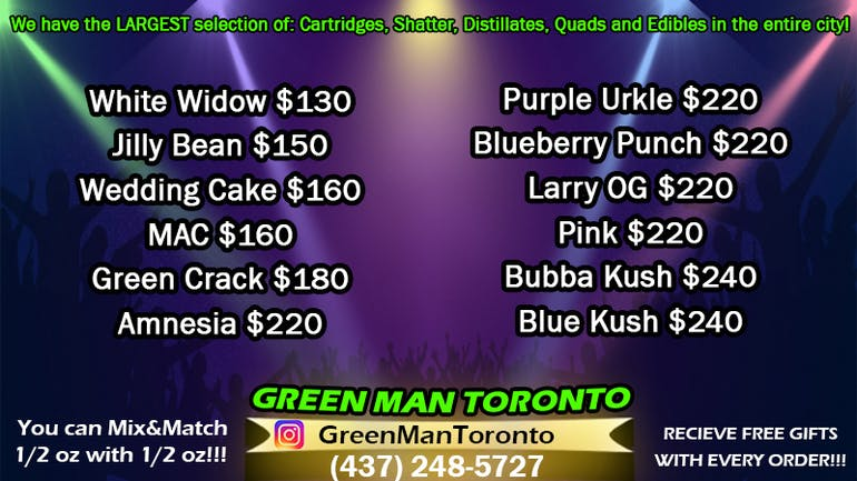 Green Man Toronto OZ $130-$240 + FREE GIFTS