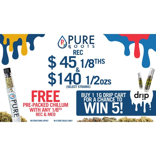 Pure Roots - Ann Arbor $45 1/8ths FREE CHILLUMS & CARTS