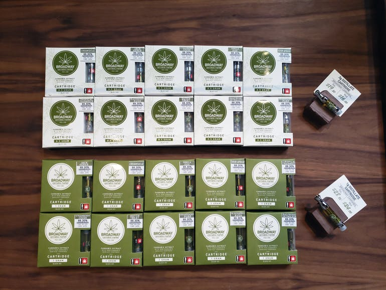Broadway Cannabis 1g cartridges for $28.80