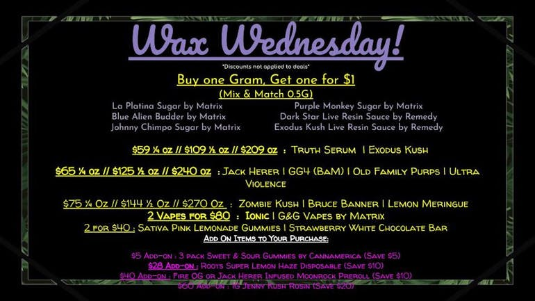 THRIVE Cannabis Marketplace West Sahara WAX WEDNESDAYS
