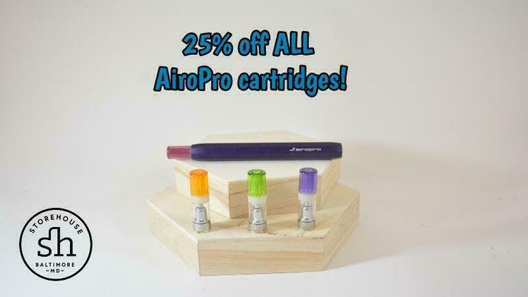 Storehouse 25% off AiroPro carts!