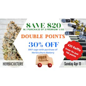 Herbiculture $20 OFF 2 1/8s! Double Points!