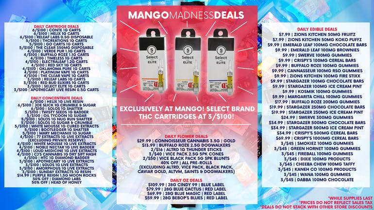 Mango Cannabis - Tulsa Select Elite Carts 3 for $100