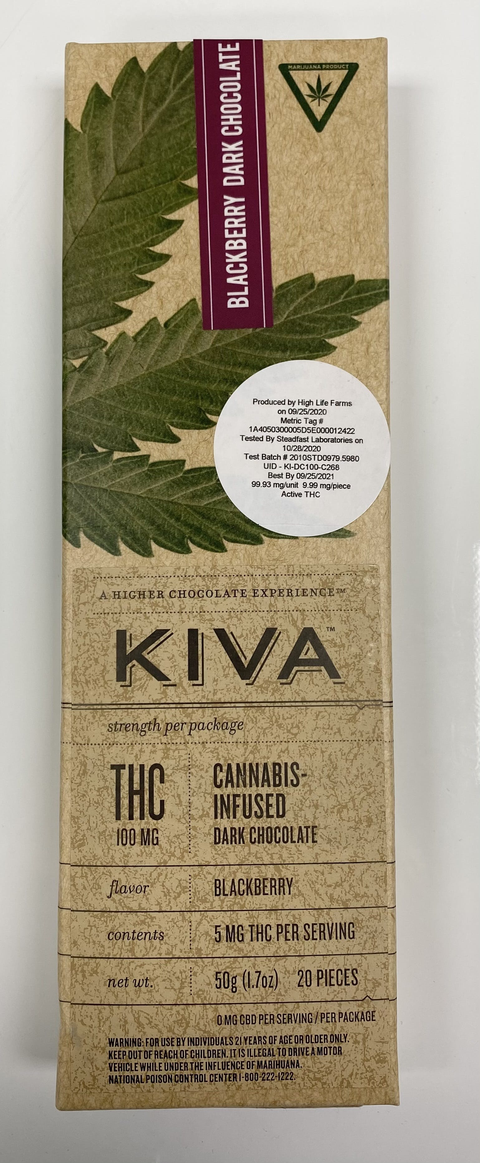 Kiva - HLF - Blackberry Dark Chocolate (100mg) (REC)