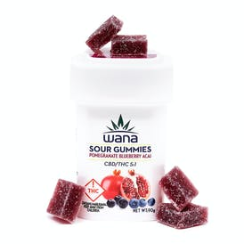 Wana Sour Gummies: Pomegranate Blueberry Acai 5:1