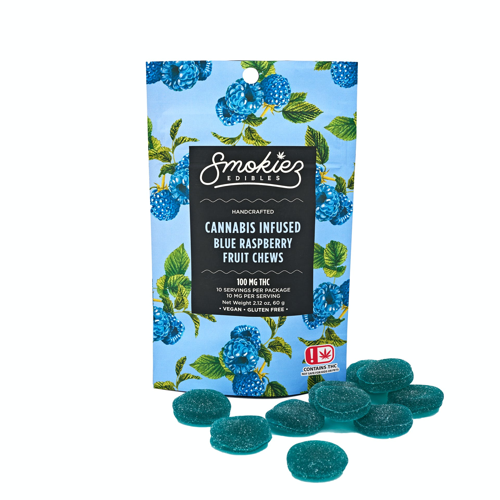 Blue Raspberry Fruit Chews - 100 mg THC - OK